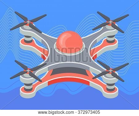 Red Drone Flying Closeup At Skyvector, Isolated Device With Propeller Flight Of New Technologies. Fl