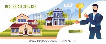 Real Estate Service Banner With Bearded Male Realtor, Suburban Houses Exterior, Cityscape, Key. Rent