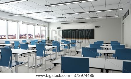 Empty school classroom with desks and chairs in front of a school blackboard (3D Rendering)
