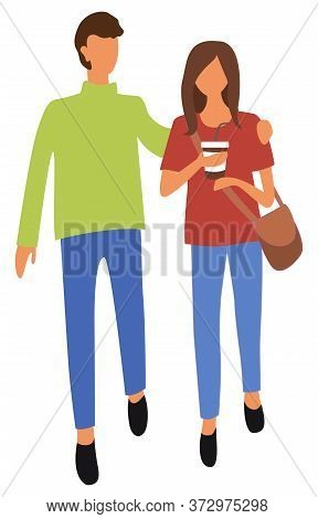 Woman Drinking Coffee Vector, Isolated Male And Female With Plastic Cup And Beverage. Couple Relaxin