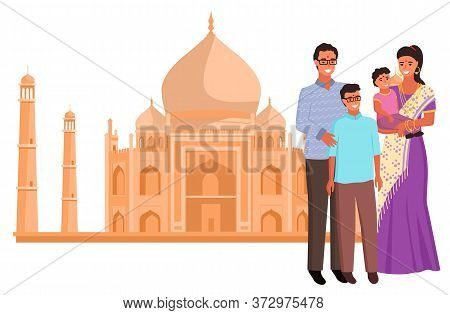 Taj Mahal Landmark And Indian Family, Woman Wearing Saree, People Hinduism. Famous Historical Palace