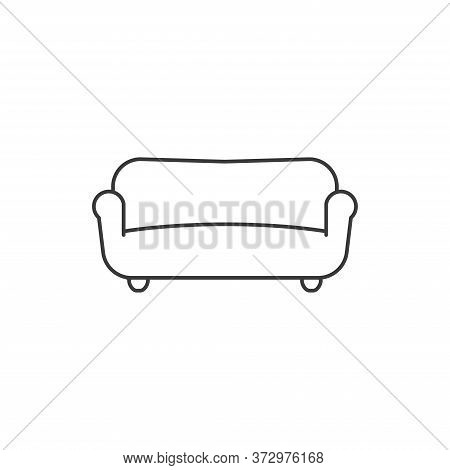 Sofa Simple Outline Icon. Vector Illustration.