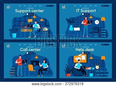 Support Service Flat Landing Pages Set. Helpline Operator With Headset Work With Computer Scenes For