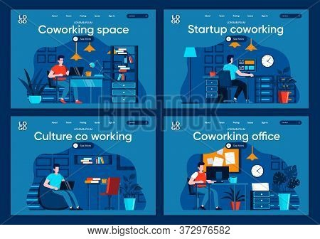 Coworking Space Flat Landing Pages Set. Designers And Developers Working At Open Workspace Scenes Fo