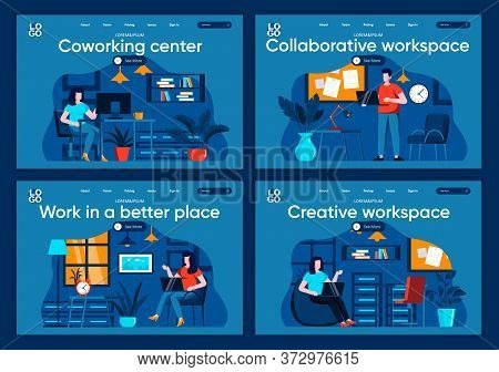 Collaborative Workspace Flat Landing Pages Set. People Working In Contemporary And Comfortable Place