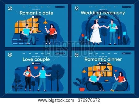 Romantic Date Flat Landing Pages Set. Boyfriend And Girlfriend Relationships, Valentines Day Scenes