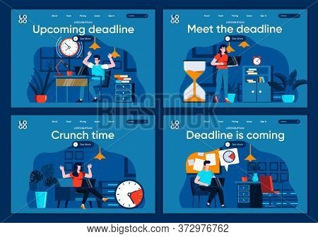 Deadline Is Coming Flat Landing Pages Set. Employee In Panic, Hurrying Up With Work Project Scenes F