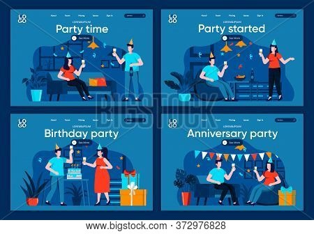 Party Time Flat Landing Pages Set. Friends Celebrating, Congratulating And Gift Presenting Scenes Fo
