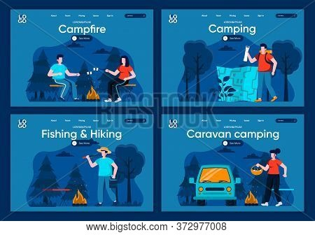 Caravan Camping Flat Landing Pages Set. Traveling With Backpack And Camping Tent, Marshmallow Roasti