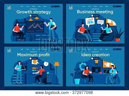 Business Meeting Flat Landing Pages Set. Manager Making Presentation, Teamwork Of Colleagues Scenes