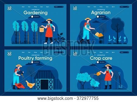 Natural Farming Flat Landing Pages Set. Farmers Planting And Watering Crop, Feeding Farm Animals Sce