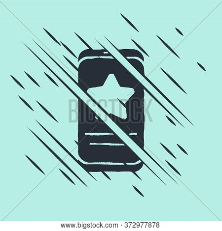 Black Mobile Phone With Review Rating Icon Isolated On Green Background. Concept Of Testimonials Mes