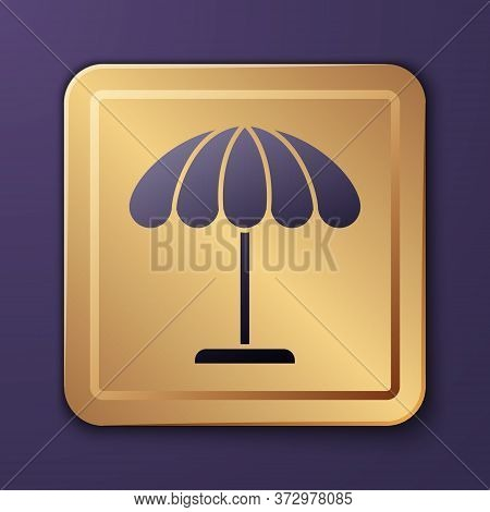 Purple Sun Protective Umbrella For Beach Icon Isolated On Purple Background. Large Parasol For Outdo