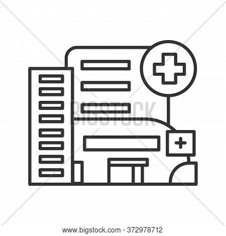 Hospital Icon. Modern City Emergency Hospital Building With Medical Cross Linear Pictogram. Concept