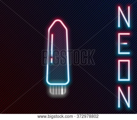 Glowing Neon Line Dildo Vibrator For Sex Games Icon Isolated On Black Background. Sex Toy For Adult.