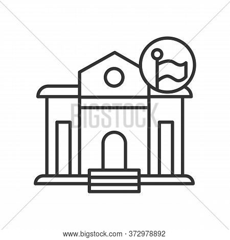 Government Building Icon Classical Architecture Public Office Building With Linear Flag Pictogram. C