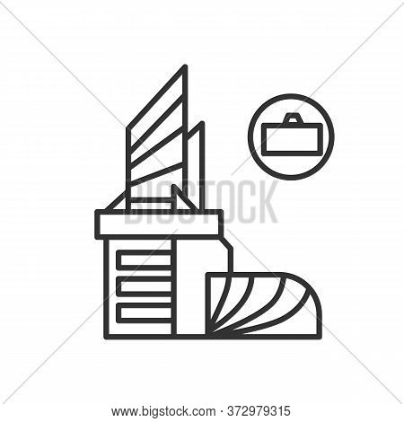 Business Centre Icon. Modern Architecture Downtown Office Building With Linear Suitcase Pictogram. C