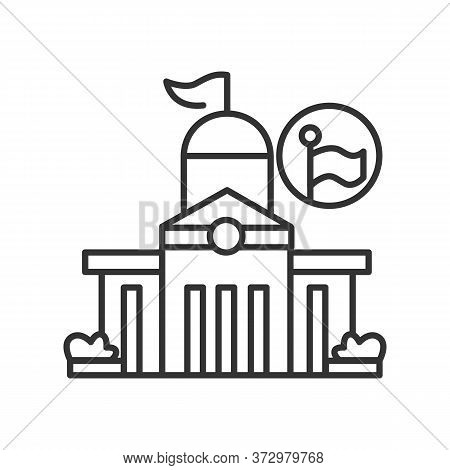 Public Office Icon Classical Architecture Public Office Capitol Building. Concept Linear Pictogram F