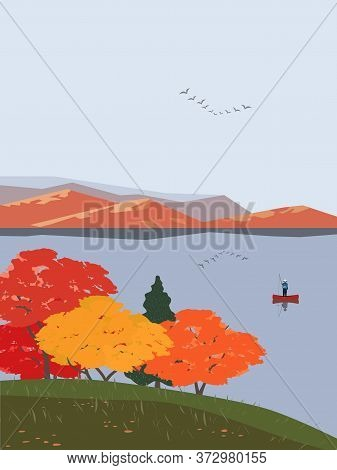 Autumn Nature Landscape. Colorful Minimal Cartoon. Fall Season Banner Background. Fishermen On Calm