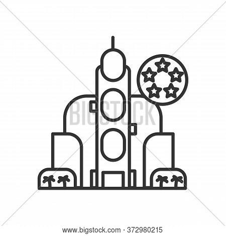 Hotel Icon. Luxury Inn Building With Five Star Rating Linear Pictogram. Concept Of High Class Touris
