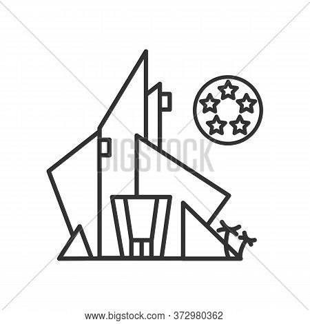 Hotel Icon. Modern Architecture Luxury Hotel Building With Five Star Rating Line Pictogram. Concept