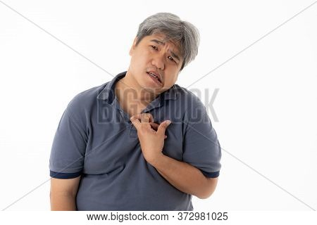 Asian Middle-aged Man Are Patients, His Hands Are Kinking Due To A Nervous System Illness And Paraly