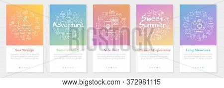 Vertical Vector Summer Five Banners - Sea Voyage And Summer Tours