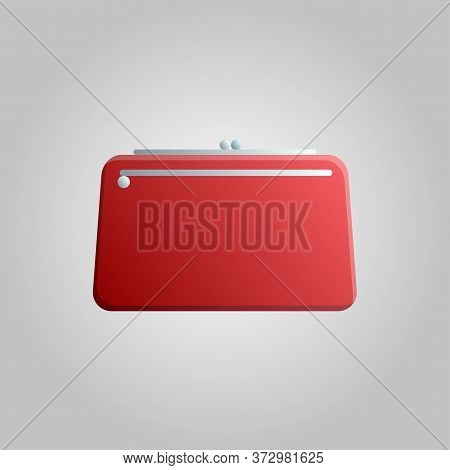 Fashionable Beautiful Beauty Glamorous Trend Red Women Bag Clutch Bag On A White Background. Vector