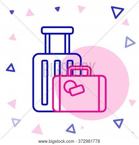 Line Suitcase For Travel Icon Isolated On White Background. Traveling Baggage Sign. Travel Luggage I