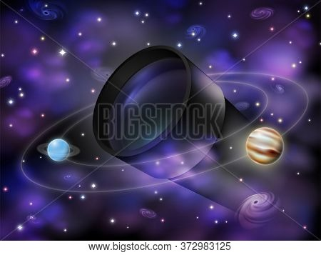 Amateur Astronomy Concept Illustration, Realistic Optical Telescope Surrounded By Stars, Galaxies, N