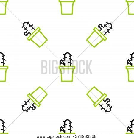 Line Cactus Peyote In Pot Icon Isolated Seamless Pattern On White Background. Plant Growing In A Pot