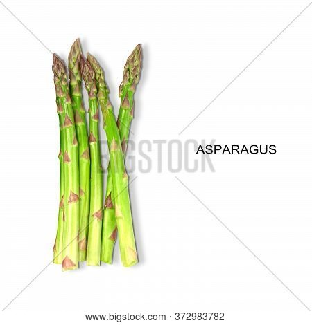 Organic Natural Green Fresh Asparagus On A Withe Background