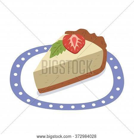 Vector Cheesecake With Strawberry On A Plate With A Blue Edge.