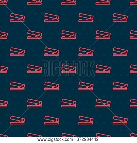 Red Line Office Stapler Icon Isolated Seamless Pattern On Black Background. Stapler, Staple, Paper,