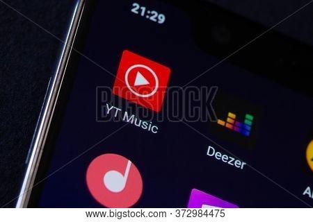 Youtube Music android logo on smartphone screen. Belgorod , Russia - jun, 16, 2020: