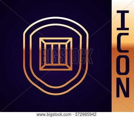 Gold Line Delivery Security With Shield Icon Isolated On Black Background. Delivery Insurance. Insur