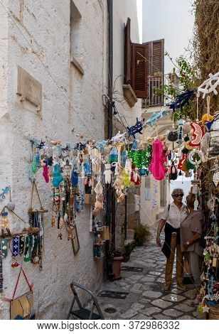 Polignano A Mare, Italy - September 17, 2019: Store Display With Handmade Souvenirs In Polignano A M