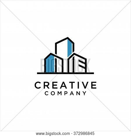 Apartment, Real Estate, Cityscape, City Skyline Logo Design Inspiration, Urban City Apartment Buildi
