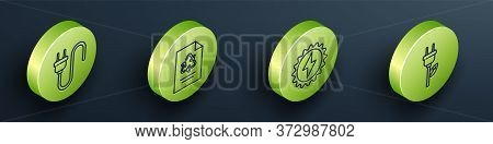 Set Isometric Electric Plug, Paper With Recycle, Solar Energy Panel And Electric Saving Plug In Leaf