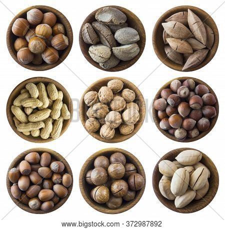 Set Of Nuts Isolated On White Background. Superfood With Copy Space For Text. Brazil Nut, Peanuts, H