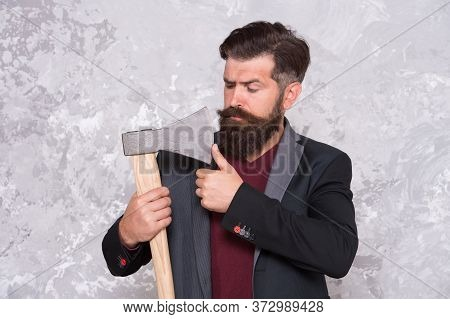 Threat To Debtors. Brutal Bearded Man With Axe. Debt Collection Is Process Of Pursuing Payments Of D
