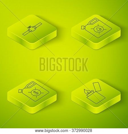 Set Isometric Canister For Motor Machine Oil, Canister For Motor Machine Oil, Lighter And Industry P