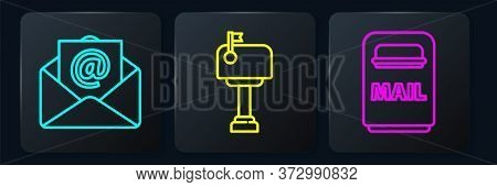 Set Line Mail And E-mail, Mail Box And Mail Box. Black Square Button. Vector