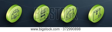 Set Isometric Delete Envelope, Mail Box, Drawer With Document And Envelope And Check Mark Icon. Vect