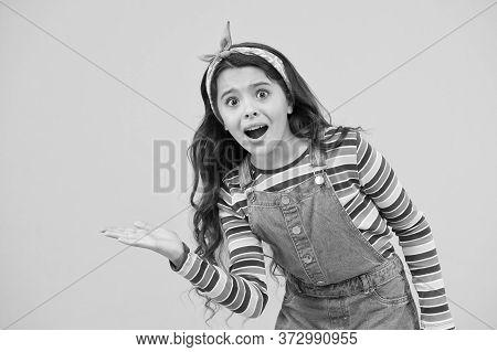 Retro Girl Presenting Summer Goods. Summer Vacation Joy. Little Child Yellow Background. Old Fashion