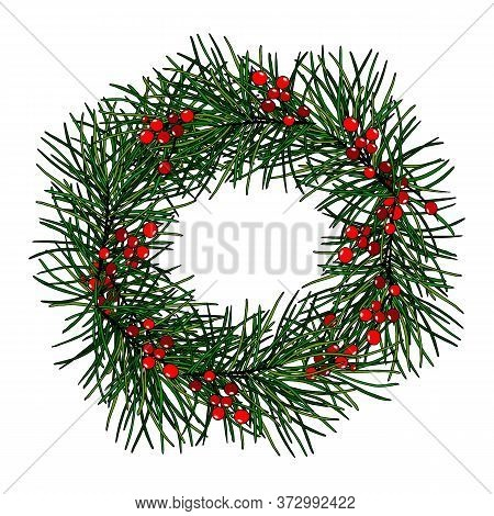 Christmas Wreath With Branches Of Pine And Berry Mistletoe, Isolate On A White Background