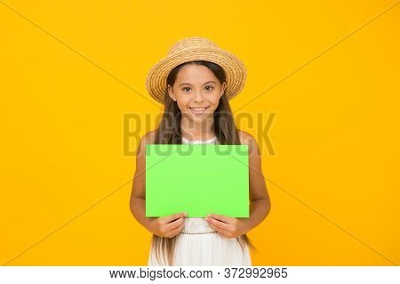 Effective Advertising. Girl Straw Hat. Advertisement Concept. Promoting Tourism. Bright Advertisemen
