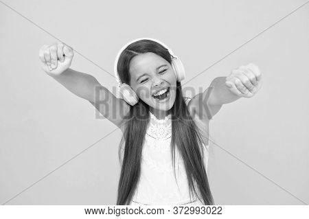 Add Song To Playlist. Listening Music. Girl With Headphones. Modern Technologies Concept. Happy Chil