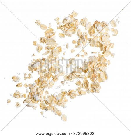 Oatmeal On A White Background Isolation, Top View