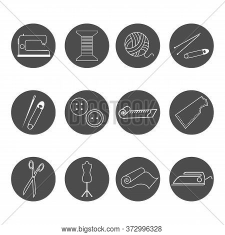 Icons With Materials And Tools For Needlework, Hobbies, Vector Illustration, For Different Design